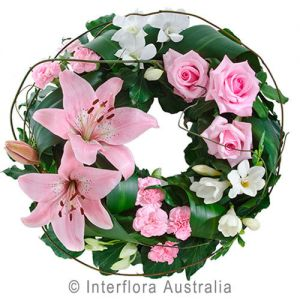 Contemplation- Pink, Cluster Wreath Suitable for Service