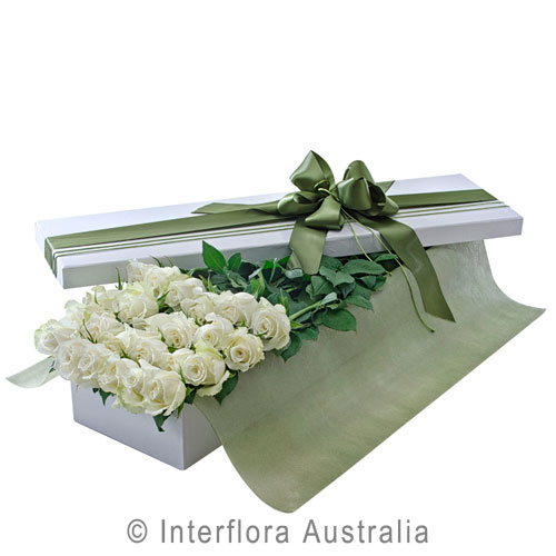 Everlasting Love (White), Presentation Box of 24 Long Stemmed White Roses