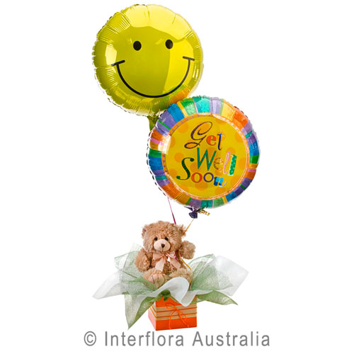 Get Well Hugs, Teddy Bear with Helium Balloons
