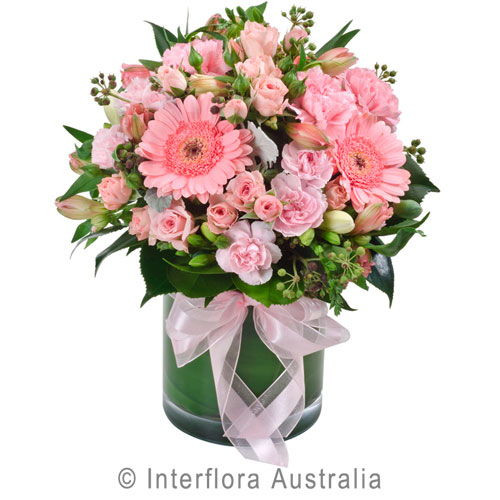 La Dolce Vita, Mixed Pastel Posy in a Glass Vase