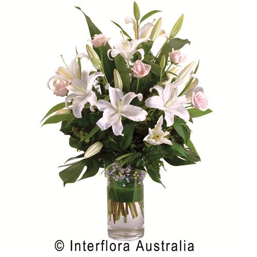Prudence, Modern Bouquet of Oriental Lilies & Roses in a Glass Vase