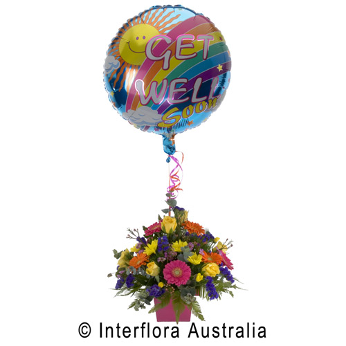 Get Well Soon, Bright Pot Arrangement with Balloon